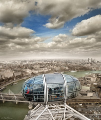 London - Study (Ben Heine) Tags: world city uk greatbritain bridge light england people urban panorama reflection london art tourism sepia architecture clouds composition buildings boats photography boat town high skyscrapers cloudy lumière top altitude horizon small capital londoneye wideangle panoramic rivière structure study future londres photoediting bubble pont nuage riverthames étude ville attraction bulle roue postprocessing nuageux compositeimage selectivecoloring theartistery tamise grandebretagne hoofdstad littleplanet justclouds benheine vertorama samsungimaging nx10