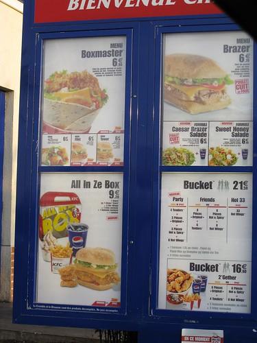 KFC Menu In French
