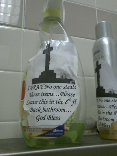 I PRAY No one steals These items...Please Leave this in the 8th fl Back bathroom...God Bless