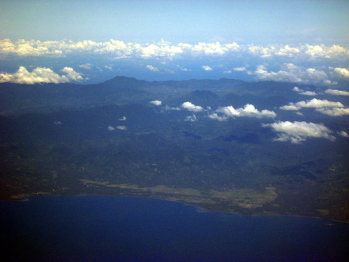 Aerial view of Manado with Lake Tonando in the distance
