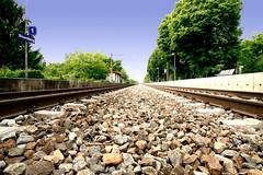 Train tracks (MedioFlickr) Tags: trees sky train austria rocks track infinity platform tracks rail railway symmetric