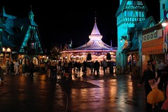 Disney - Fantasyland at Night (Express Monorail) Tags: reflection wetstreet wet wdw waltdisneyworld usa walt waltdisney themepark theme sigma ride rain projection purple pink pirate pirateandprincess pirateandprincessparty paintshopprophotox2 orlando night nightshot nikond40 noiseninja magickingdom magical magic kingdom january handheld florida fantasyland disneyworld disneyride disneyprincesses disneyparks disneyatnight disney colors colorful classicfantasylanddarkride cinderella attractions 30mm 2008 peterpansflight cinderellasgoldencarousel pinocchiovillagehaus guests waltdisneyworldresort kissimmee lakebuenavista f14 disneyphotochallenge disneyphotochallengewinner