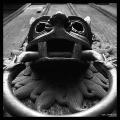Posh knocker? (Superlekker) Tags: uk england blackandwhite church bronze durham cathedral medieval knocker creature schwarzweiss northeast asylum churchofengland blancetnoir sanctuaryknocker rawtherapee anjalieder copyrightanjalieder2008