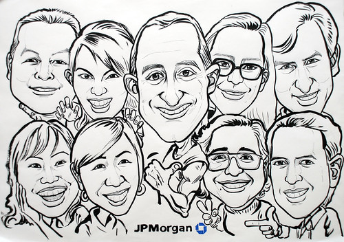 Group caricatures for JP Morgan ink and brush outline