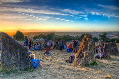 The Stone Circle (maapu) Tags: uk camping sunset party england people stone canon fun glastonbury tent sacred fields glastonburyfestival hdr glasto stonecircle sacredspace goldenlight photomatix someset tonemapped maapu mauroof canon40d mauroofkhaleel worthyfield