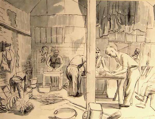 H.Q. Coy, Cookhouse on paper, unique Bawden, Edward 1940