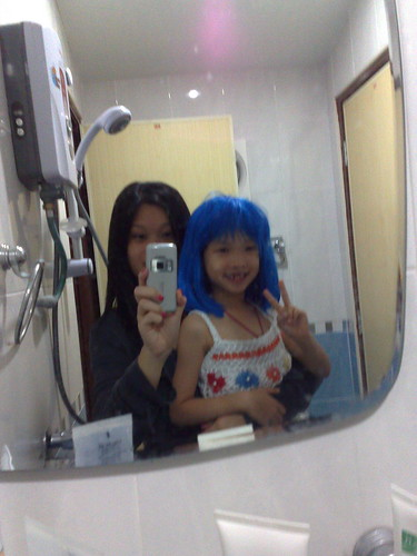 Then the blue wig popped out.