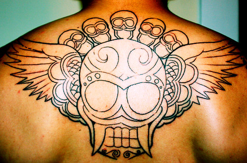 skull wings tattoos. Skull amp; Wings back piece