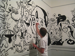 My new living room (TheGrossUncle) Tags: bw wall illustration painting mural fineart cartoon collab collaboration andystattmiller grantgilliland thegrossuncle pilpen