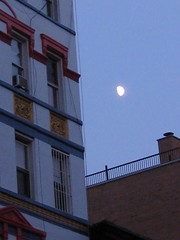 Daymoon (kittiegeiss) Tags: nyc blue red sky moon white building gold colorful