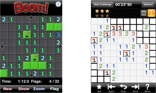 Capturas de los dos mejores juegos para iPhone, sendas versiones del archiconocido buscaminas