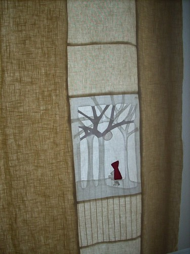 wip red riding hood quilt - linen applique