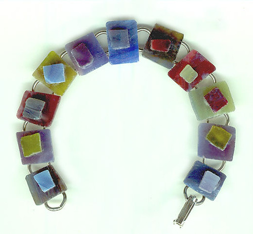 Stained Glass Candy Bracelet: Jewel Tones/Silver