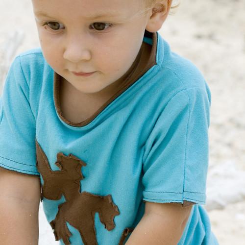 organic T-shirt: ocean blue gecko