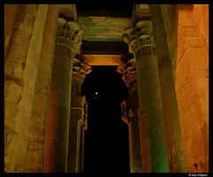 Moonlit temple of Kom Ombo (Dan Wiklund) Tags: longexposure moon night temple egypt d200 pillars 2008 hieroglyphs komombo nilevalley