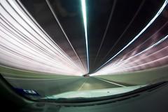 The Time Tunnel (Vermin Inc) Tags: road longexposure motion blur lines car metal evening pentax curves australia melbourne victoria handheld streams tollway backtothefuture fisheyelens citylink k10d acoustictunnel smc1017mmf35fisheye