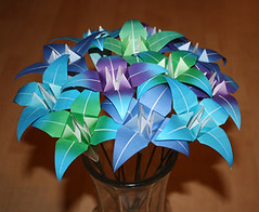 Origami lilies (amandakay82) Tags: birthday flowers blue iris wedding party summer plant flower green art nature floral garden paper outside outdoors bride spring origami colorful lily purple bright blossom anniversary unique decoration lilies gift bridesmaid gradient bloom vase romantic fade variegated bouquet etsy centerpiece favor arrangement irises favors blend
