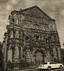 Malate Church, Manila Philippines (Vic de Vera) Tags: street old city travel sky art heritage history texture church beauty car architecture canon photography photo education worship asia view place post philippines places scene tourist explore processing manila learning destination tone oldest pinoy textured masterpiece 16thcentury malatechurch manilaphilippines aplusphoto vicdevera