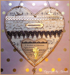 Vintage Valentines Heart Gold (Boxwoodcottage) Tags: music bird love wall sepia angel vintage paper gold dresden heart lace antique foil amor border valentine german tinsel valentines sheet hanger ecru trims