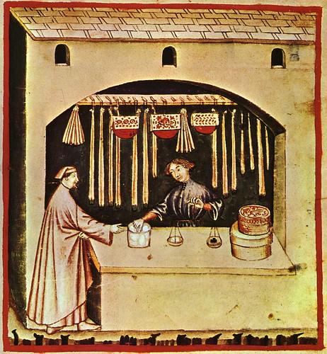 009-Vendedor de azucar-mas bien una medicina en aquella epoca-TACUINUM SANITATIS- Biblioteca Casanetense Ms. 4182
