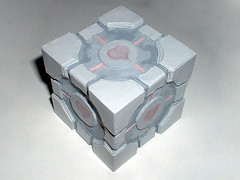 Weighted Companion Cube - 2201_2009 013 (CPSutcliffe) Tags: pink paper aperture paint glue craft science card valve cube companion loveheart weighted