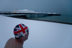 makes proud you to be british (lomokev) Tags: winter sea snow beach sport swimming swim pier crazy brighton flag mad swimmers brightonpier palacepier swimmingcap deletetag uksnow snowyswim uinonjack snowyswim2009 file:name=mg0015 uinonflag