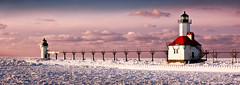 Lighthouse Landscape (jrobfoto.com) Tags: light sea lighthouse house snow ice evening pier flickr dusk michigan clay icicle catwalk josephs willard sait omot jonathanrobsonphotographycom epiceditsselection viapixelpipe saitjosephs