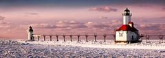 Lighthouse Landscape (jrobfoto.com) Tags: light sea lighthouse house snow ice evening pier flickr dusk michigan clay icicle catwalk josephs willard sait omot jonathanrobsonphotographycom epiceditsselection viapixelpipe saitjosephs