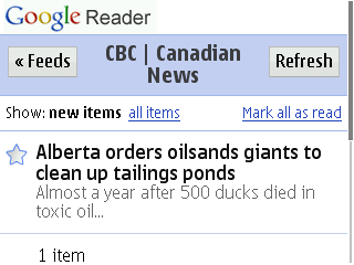 Google Reader Mobile - Webkit Edition