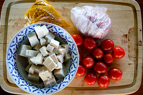 Ingredients for thua foo khua, a tofu dish from Mae Hong Son