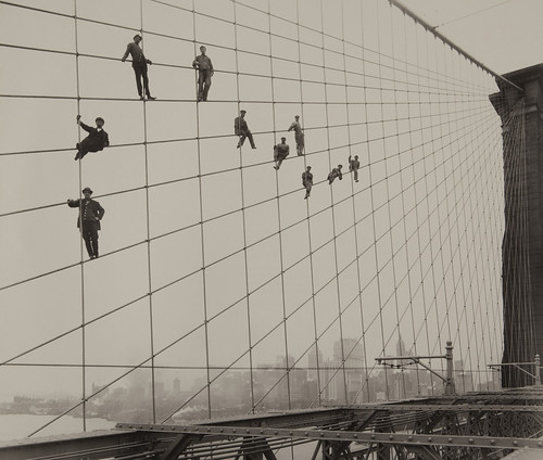 Painters on the Brooklyn Bridge Suspender Cables, October 7, 1914