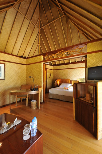 InterContinental Bora Bora  Le Moana Resort bungalow lounge and bedroom