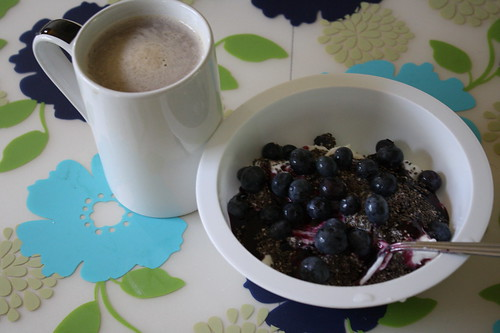 coffee, yogurt, blueberries