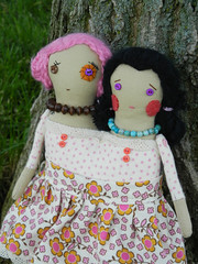 rosie & posie (MySkipper) Tags: cute art monster one miniature twins doll handmade zombie buttons unique twin siamese kind yarn etsy rag conjoined myskipper
