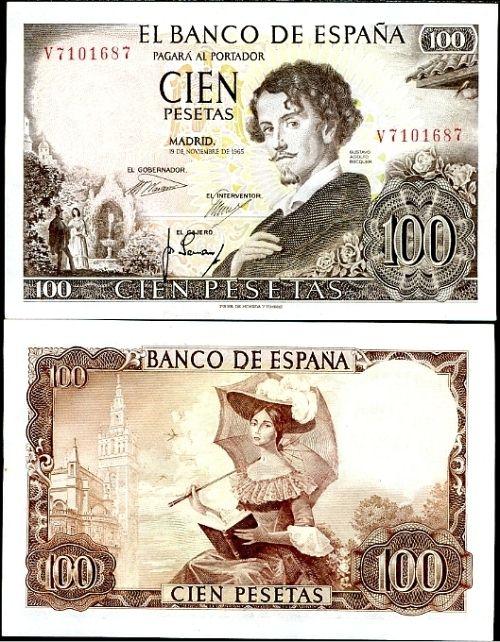 *100 Pesetas Španielsko 1965 (1970), Pick 150