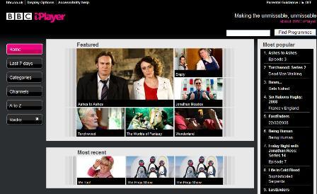 BBC iPlayer menu
