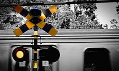 Railway Crossing, Japan (St Stev) Tags: light public car station sign yellow japan contrast train lights asia crossing action kamakura transport tracks rail railway pedestrian trains jr line  nippon kita kanagawa nihon yokosuka kitakamakura
