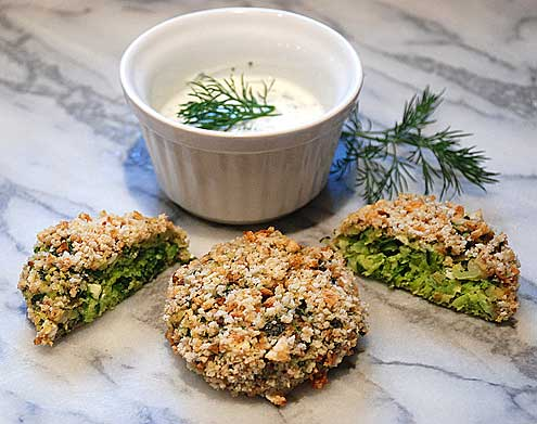 Courgette & Feta Cakes with a Dill Yoghurt Sauce