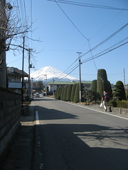 walking towards Fuji