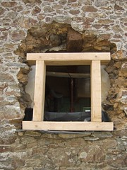 New window opening and oak frame