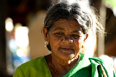 ajji (vbsuresh) Tags: portrait india green hair dof burn age oldlady karnataka saree wrinkles savandurga ajji