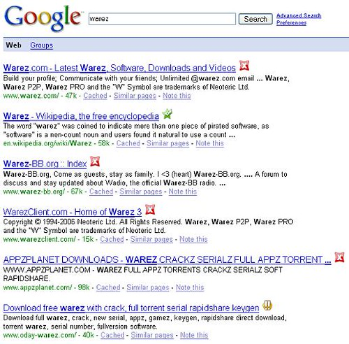 Google Search - warez