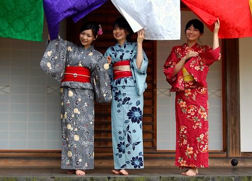 Three girls in Kimono