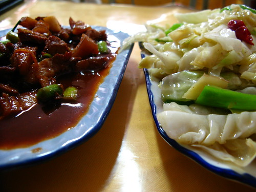 The joy of cross cultural communication...what I wanted (and thought I had ordered) was pork and cabbage together. What I got was pork, and cabbage (Zhangye, Gansu Province, China)