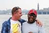 Two Guys on a Pier 2 (mausgabe) Tags: nyc skyline newjersey couple hudsonriver christopherstpier 2guys nikond60 70300mmf4556gvr tc14kenko