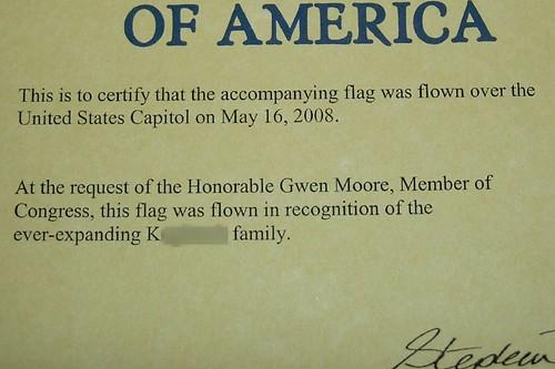 Certificate certifying Koog Family Flag!