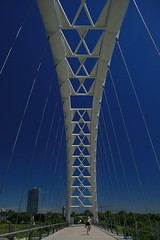 Humber River Pedestrian Bridge, Toronto (Tony Lea) Tags: bridge blue summer white lake toronto ontario canada west beach mouth river walking bay design pier arch waterfront suspension native walk great july first engineering pedestrian cable palace tony cables lakeshore lea anthony etobicoke harbourfront symbols lakeontario polarizer 2008 stroll nations humber stayed cablestayed humberriver cablestayedbridge torontowaterfront humberriverpedestrianbridge anawesomeshot goldstaraward mouthofthehumber tonylea anthonylea