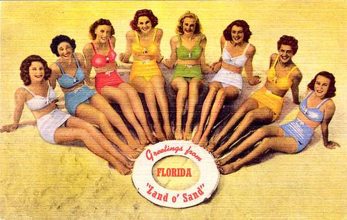 Florida Bathing Beauties' Postcard Greetings, 1940s