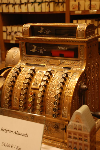 Cash register in candy shop in Brussels by you.