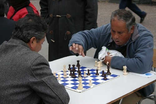 Open air chess at Plaza de Armas, Santiago.